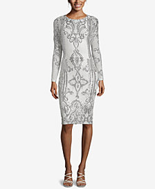 Betsy & Adam Placed-Sequin Sheath Dress