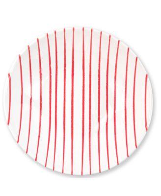 Net & Stripe Red Stripe Medium Serving Bowl