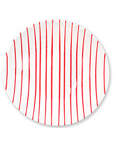 VIETRI Net & Stripe Red Stripe Medium Serving Bowl