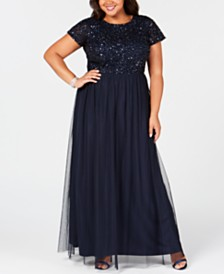 a5aab27345a16 (2). more like this · Adrianna Papell Plus Size Sequined Tulle A-Line Gown