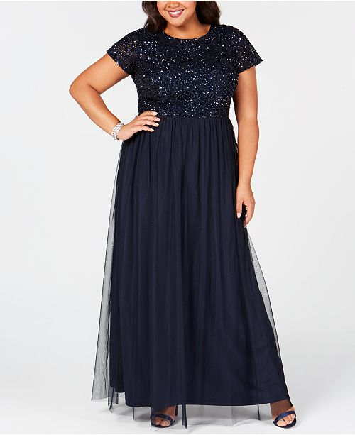 f7aa039f091 Adrianna Papell Plus Size Sequined Tulle A-Line Gown   Reviews ...