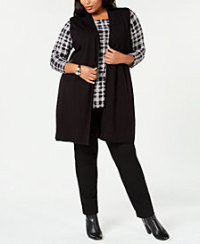 Alfani Plus Size Long Sweater Vest, Created for Macy's