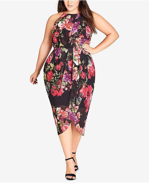 dcc770e8462 City Chic Trendy Plus Size Floral-Print Faux-Wrap Dress - Dresses ...