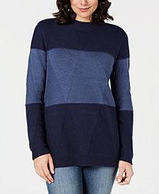 Karen Scott Colorblocked Mockneck Sweater