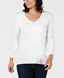 Karen Scott V-Neck Puff-Sleeve Sweater, Created for Macy's