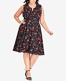 Trendy Plus Size Floral-Print Belted Fit & Flare Dress