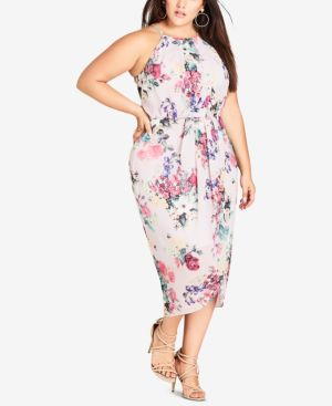 Trendy Plus Size Floral-Print Faux-Wrap Dress, Pretty Pose
