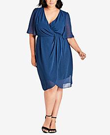 City Chic Trendy Plus Size Twisted Faux-Wrap Dress