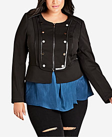 City Chic Trendy Plus Size Studded Jacket