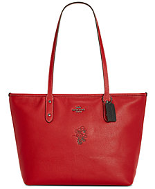 COACH Minnie Motif City Tote in Pebble Leather