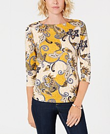 Petite Pima Cotton Button-Shoulder Print Top, Created for Macy's