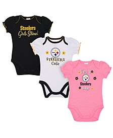 Pittsburgh Steelers 3 Pack Creeper Set, Infants (0-9 Months)