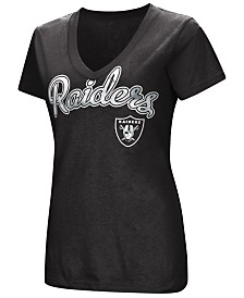 G-III Sports Women's Oakland Raiders Tailspin Script Foil T-Shirt