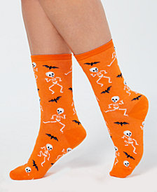Hot Sox Women's Halloween Dancing Skeletons Crew Socks