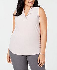 Anne Klein Plus Size Gathered V-Neck Shell
