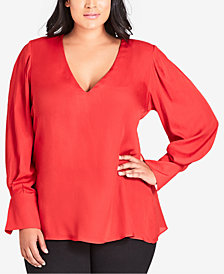 City Chic Trendy Plus Size London Calling V-Neck Top