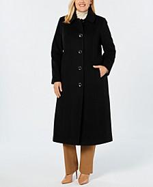 Plus Size Single-Breasted Maxi Coat