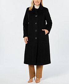 Anne Klein Plus Size Club-Collar Maxi Coat