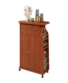 Kitchen Cart with Spice Rack in Cherry
