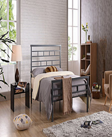 Complete Metal Queen-Size Bed with Headboard, Footboard, Slats and Rails in Grey