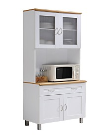 Kitchen Cabinet with Top and Bottom Enclosed Cabinet Space, 1-Drawer, plus Large Open Space for Microwave