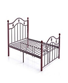 Complete Bronze Metal Bed with Headboard, Footboard, Slats and Rails in Twin Size