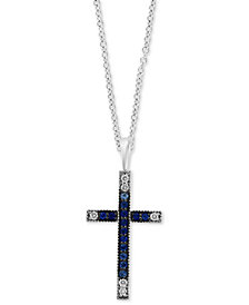 "EFFY® Sapphire (1/3 ct. t.w.) & Diamond (1/10 ct. t.w.) Cross 18"" Pendant Necklace in 14k White Gold"