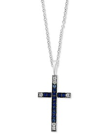 "EFFY® Sapphire (1/3 ct. t.w.) & Diamond (1/10 ct. t.w.) Cross 18"" Pendant Necklace in 14k White Gold"