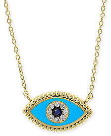 "EFFY® Sapphire & Diamond Accent Evil Eye 18"" Pendant Necklace in 14k Gold"