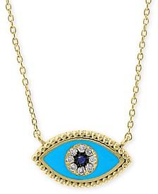 "EFFY® Sapphire & Diamond Accent Evil Eye 18"" Pendant Necklace in 14k Gold"