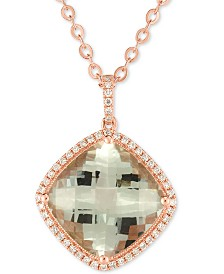 "Prasiolite (10 ct. t.w.) & Diamond (1/4 ct. t.w.) 18"" Pendant Necklace in 14k Rose Gold"
