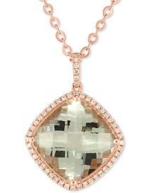 "Prasiolite (10 ct. t.w.) & Diamond (1/4 ct. t.w.) 18"" Pendant Necklace in 14k Rose Gold"