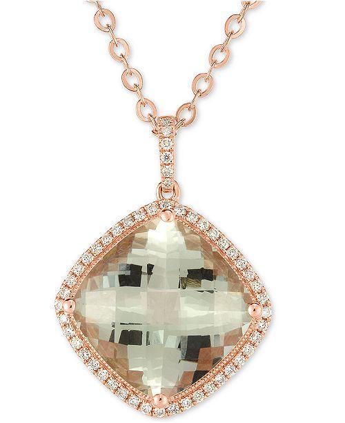 "Macy's Prasiolite (10 ct. t.w.) & Diamond (1/4 ct. t.w.) 18"" Pendant Necklace in 14k Rose Gold"