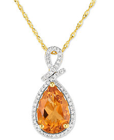 "Citrine (2-1/2 ct. t.w.) & Diamond (1/8 ct. t.w.) 18"" Pendant Necklace in 14k  Gold"
