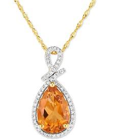 "Citrine (2-1/2 ct. t.w.) & Diamond (1/8 ct. t.w.) 18"" Pendant Necklace in 14k  Gold"