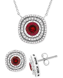2-Pc. Set Lab-Created Sapphire (2 ct. t.w.) & White Sapphire (1/2 ct. t.w.) Pendant Necklace & Stud Earrings Set in Sterling Silver (Also in Lab-Created Ruby)