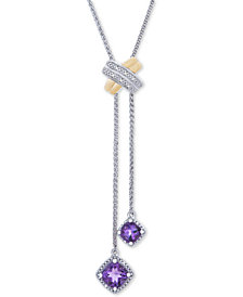 "Blue Topaz (1-1/10 ct. t.w.) & Diamond Accent 30"" Lariat Necklace in Sterling Silver & 10k Gold (Also In Amethyst, 1-3/8 ct. t.w.)"