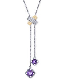 "Amethyst (1-3/8 ct. t.w.) & Diamond Accent 30"" Lariat Necklace in Sterling Silver & 10k Gold (Also Available in Blue Topaz)"