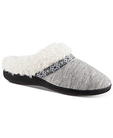 Isotoner Signature Women's Sweater-Knit Woodlands Hoodback Slippers