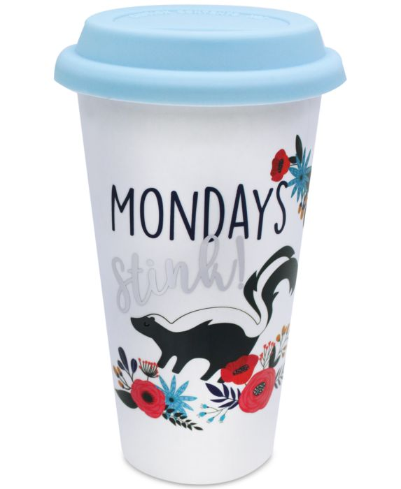 CLOSEOUT! TMD Holdings Skunk Mondays Travel Mug, White