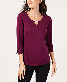 JM Collection Petite Buttoned-Cuff Keyhole Top, Created for Macy's