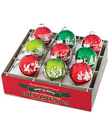"Christopher Radko Holiday Splendor 2.5"" 9-Pc. Signature Flocked"