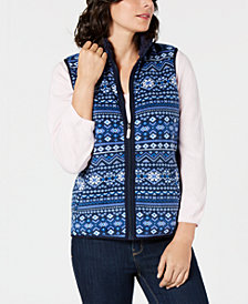 Karen Scott Fair Isle Zip-Front Vest, Created for Macy's