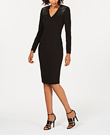Calvin Klein Embellished Long-Sleeve Sheath Dress