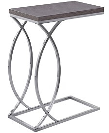 Monarch Specialties Chrome Metal Edgeside Accent Table in Grey