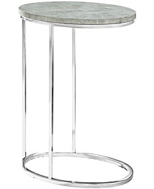 Chrome Metal Ocal Edgeside Accent Table in Grey Cement