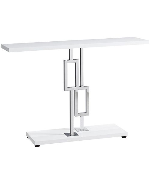 "Monarch Specialties Chrome Metal 48""H Console Accent Table in  Glossy White"