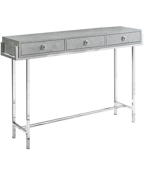 """Monarch Specialties 48""""H Accent Console Table in Grey Cement Finish"""