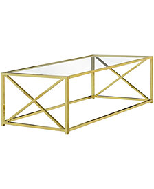 "Monarch Specialties Tempered Glass 44""L Coffee Table in Gold"