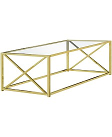 """Monarch Specialties Tempered Glass 44""""L Coffee Table in Gold"""